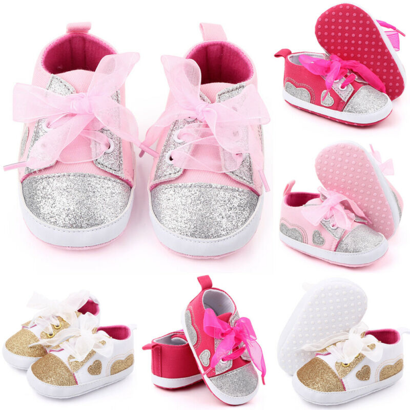 0-18M Infant Newborn Baby Boy Girl Soft Sole Shoes Canvas Pram Shoes Trainer New