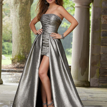 elegantes evening dresses shiny satin 2 in 1 strapless beaded pleat prom women p