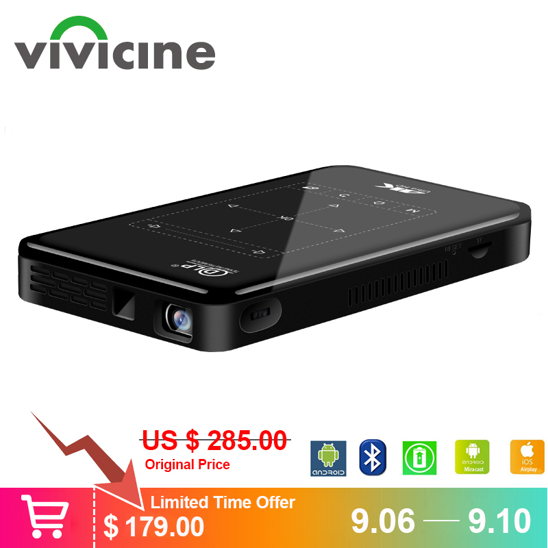 Mini projecteur Vivicine 4 K, Android Bluetooth, batterie 4000 mAh, Support vidéo projecteur portable Miracast Airplay