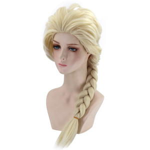 Image 4 - VICWIG Cosplay Wigs 26Inch Golden Ponytail Braid Synthetic Hair for Women Grey Wig Heat Resistant Rose Net