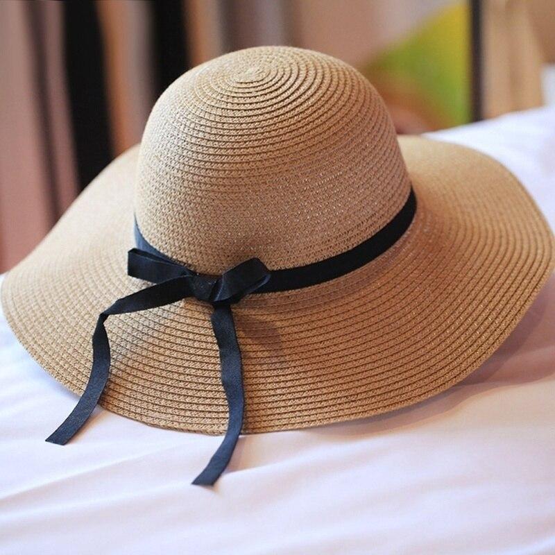Летняя соломенная шляпа для женщин с большими широкими полями пляжная Солнцезащитная шляпа соломенная флоппи шляпа с защитой от воздейств...