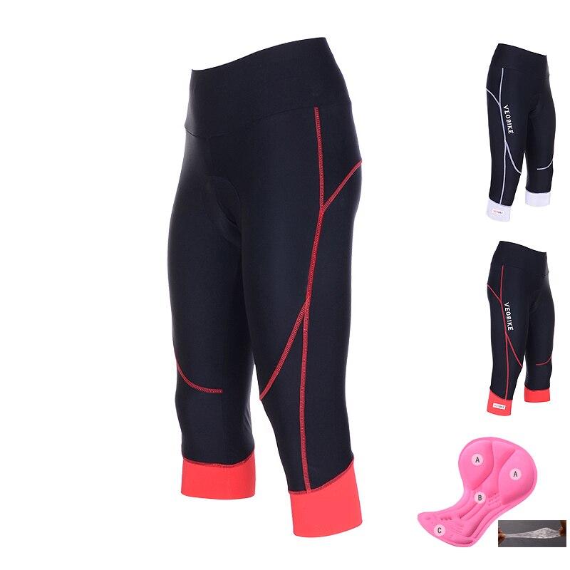 Calção acolchoada em gel para ciclismo, calça esportiva apertada e de secagem rápida, tecido respirável, 2020, para mtb, verão, roupas fitness, 3/4
