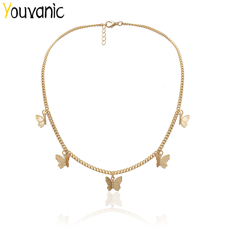Youvanic Cute Butterfly Choker Necklace For Women Gold Chain Statement Collar Female Chocker Best Shining Jewelry in Aliexpress