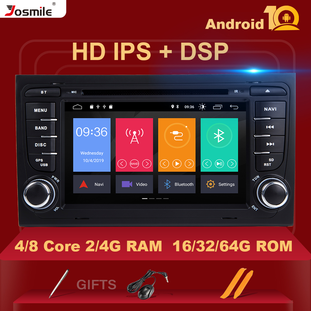 2 Din Android 10 Car Radio GPS Car DVD Player for <font><b>Audi</b></font> <font><b>A4</b></font> B8 S4 <font><b>B6</b></font> B7 RS4 8E 8H B9Seat Exeo Navigation <font><b>Multimedia</b></font> 4GB 64GIPS DSP image
