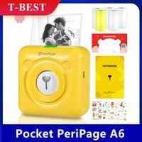 PeriPage A6 미니 포켓 무선 BT 열전 사 프린터 사진 라벨 메모 영수증 용지 프린터 AR 사진 기능 5 롤