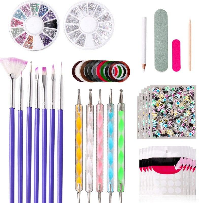 11 unids/set arte del clavo de DIY herramientas de cuentas de cristal Picker pluma que puntea profesional manicura Multicolor cepillo de uñas de pintura de la pluma
