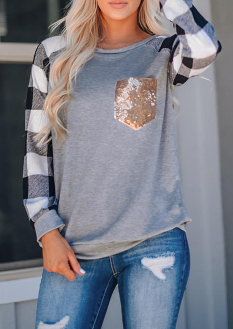 Women Plaid Splicing Sequined Pocket T-Shirt Tee Gray Female Harajuku Long Sleeve Pullover Ladies Sweatshirt Tops Clothes 2019