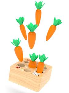 Block-Set Ability Montessori Carrot Wooden Interactive Game Kids Toy Juguetes Cognition