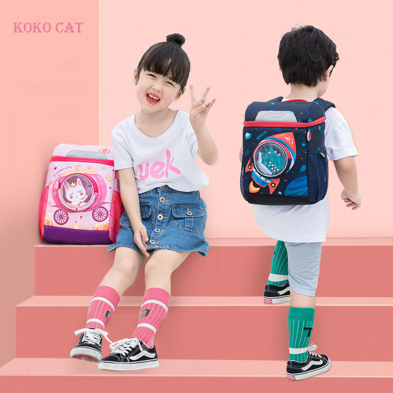 3D Space Dinosaur Rabbit School Backpack For 2-6 Years Old Waterproof Cartoon Boys Schoolbag Children Gift Mochila Infantil (S)