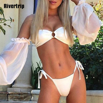 Sexy Long Sleeve Bikini Set Off Shoulder Bquini Mesh Ruffle Swimsuit Women Tie-waist Bathing Suit High Cut Beach Wear 2020 New self tie ruffle bikini set