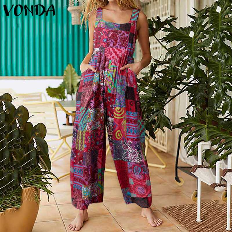 VONDA Women Rompers Casual Loose Long Jumpsuit Sexy Sleeveless Cotton Wide Leg Pants Bohemian Printed Overalls Pantalon 5XL