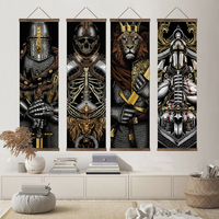 Japonés Ukiyo-e Samurai esqueleto arte de pared rollo de lienzo León cara pósteres imágenes para pared para sala de decoración para el hogar pintura