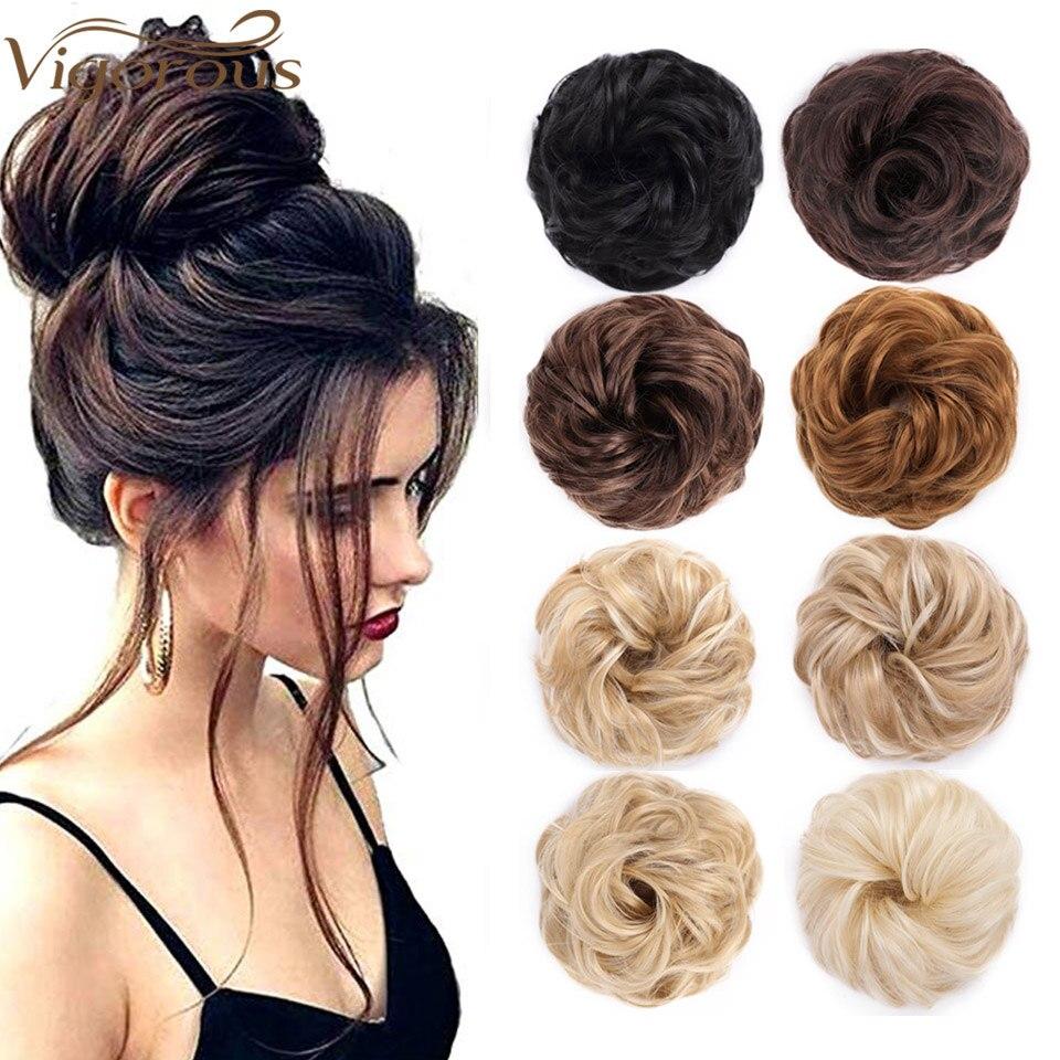 Extensões sintéticas vigorosas do pão encaracolado messy bun cabelo scrunchies elegante chignons casamento cabelo peça para mulheres e crianças