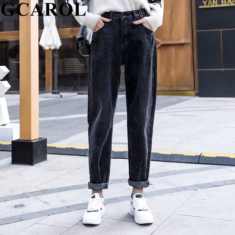 GCAROL New Women High Elastic Waisted Harem Pants With Belt Retro Old Style Fall Winter Ankle Length Pants Plus Size Trousers