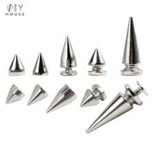 Clipe afiado de metal punk 10-30 conjuntos, rebites afiados de metal para artesanato e cabeça, faixa de relógio, decoração com grampos fivelas de unha