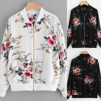 Retro Floral Printed Short Jacket Woman Zipper Bomber Female Spring Outwear Casual Long Sleeve Women's Clothes Plus Size 5XL Hot