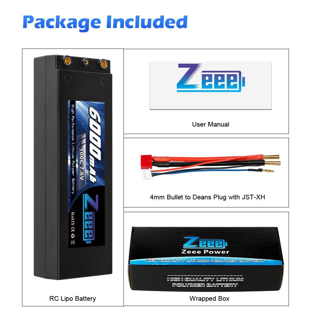 Zeee Lipo batterie 7.6V 6000mAh 100C RC Lipo batterie avec 4mm balle Deans Plug bateau chargeur de batterie pour RC voiture camion Truggy - 6