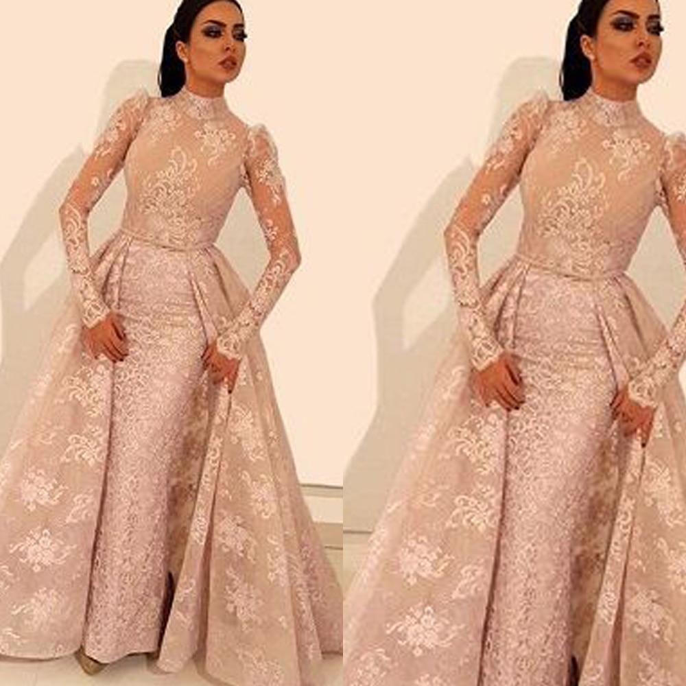 lace   prom     dresses   2020 high neck long sleeve detachable evening   dresses   pink formal   dresses   vestido longo festa