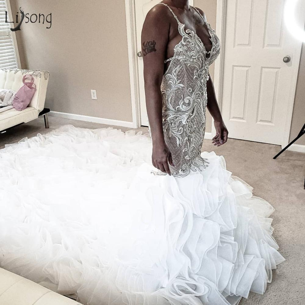 Gonna Luxury Backless Mermaid Wedding Dresses Lace Sparkle Crystal Bridal Gowns Lush Organza Ruffles Mariage