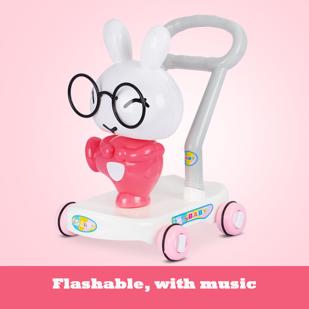 Cartoon baby stroller with music flash suitable for more than 10 months bunny yellow duck walker
