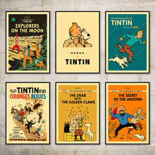 Exploración de Marte las aventuras de Tintín perro de pintura de la lona Vintage cartel de papel Kraft recubierto pegatinas de pared hogar Decoración regalo