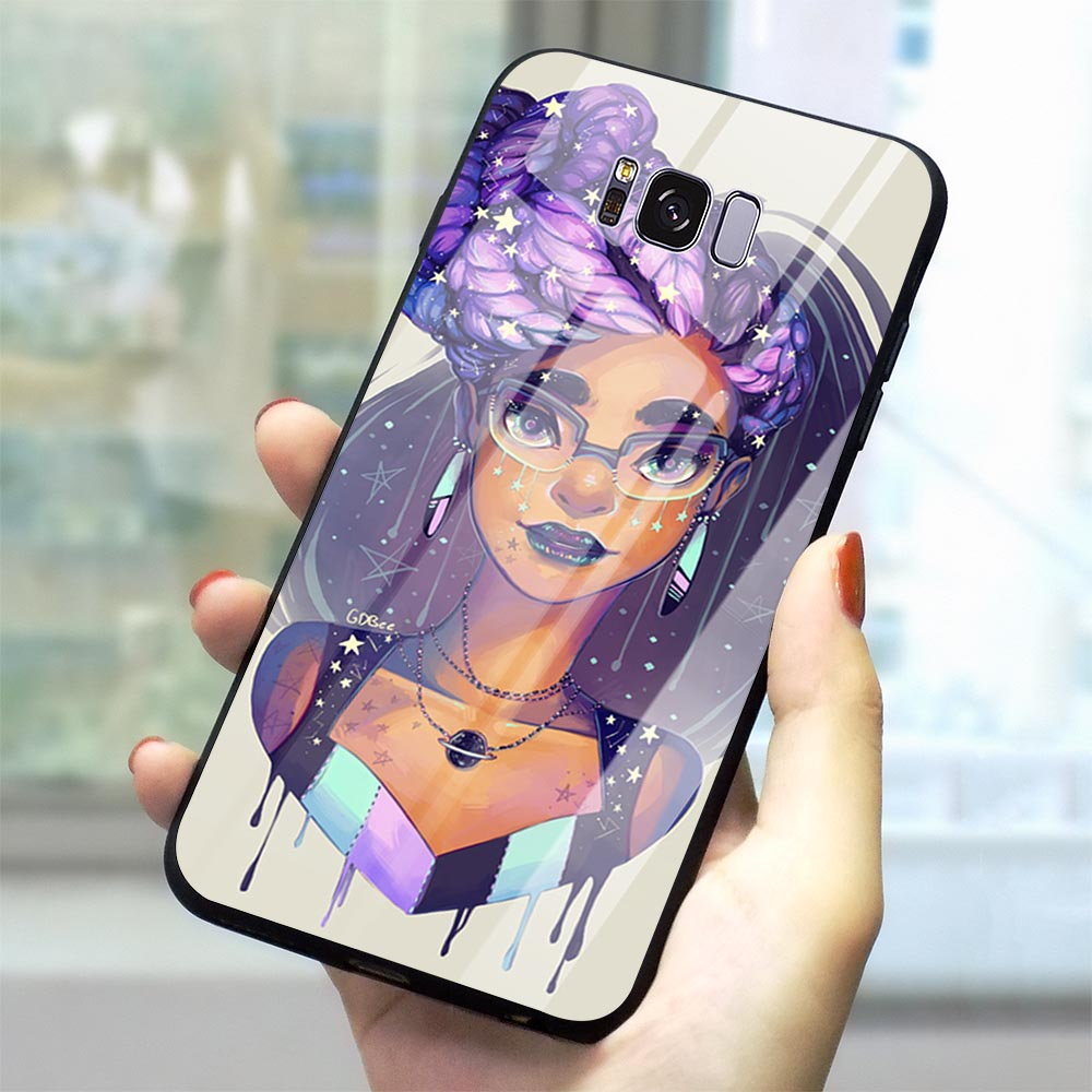 Print Afro Girls Tempered Glass Phone Case for Samsung Galaxy S7 Edge Cover A70 A60 M40 A50 A40 A20 A30 A10 S7 S8 S9 Plus S10 image