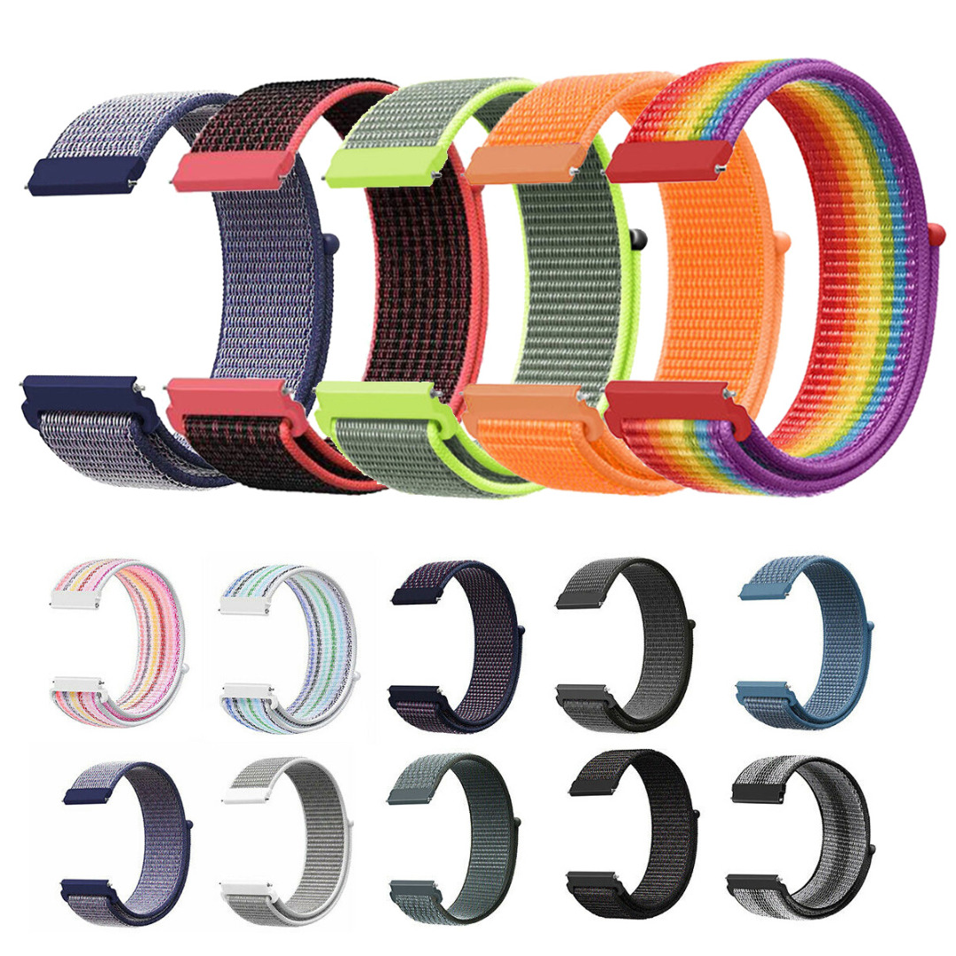 22mm Woven Nylon Sport Loop Watch Band Strap For Samsung Huawei Xiaomi Universal Quick Release Replacement Wristband Pulseira