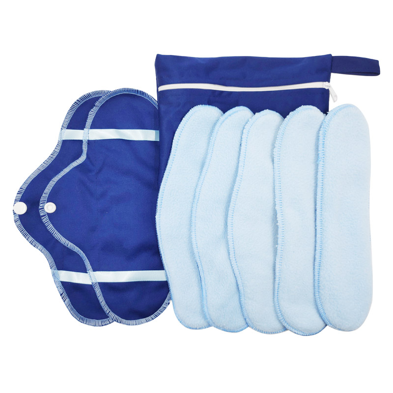 8Pcs/Set Menstrual Liner Reusable Micro Fleece Pads Panty Liner Cloth Sanitary Pad Washable Panty Liner Menstrual Microfiber Pad