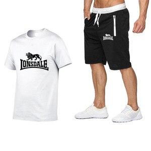 Image 2 - Été hommes ensembles de vêtements de sport à manches courtes T shirts + Shorts nouvelle mode décontracté hommes ensembles Shorts + 2 pièces T shirts