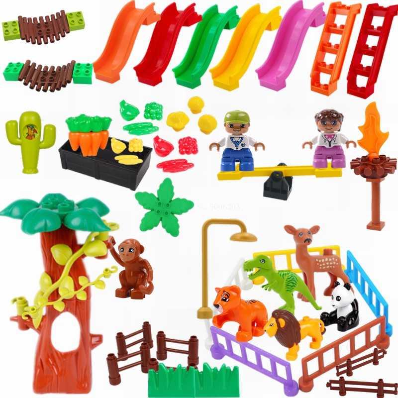 Legoing Duplo Hewan Jurassic Dinosaurus Dunia Tiger Pagar Tanaman Slide DIY Ukuran Besar Blok Bangunan Aksesoris Figure Mainan Anak