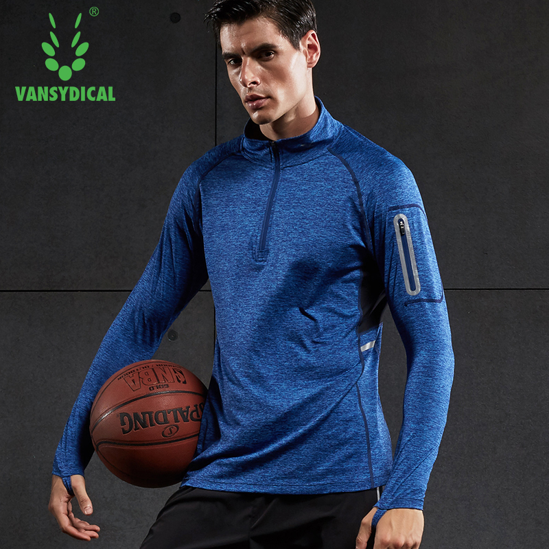 running - VANSYDICAL sport t shirt men long sleeve sportwear male breathable dry fit zipper workout shirt running gym clothing tops tee