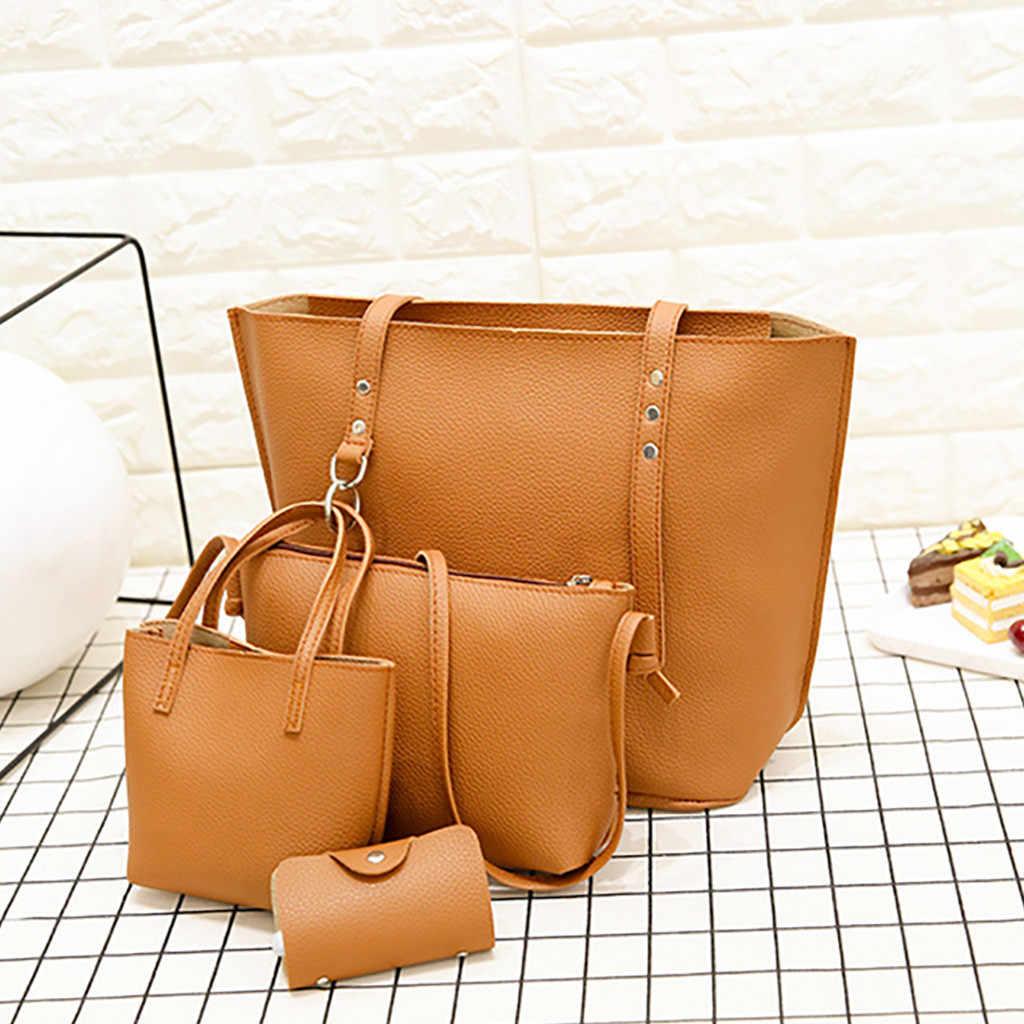 4 個女性パターン革ハンドバッグ + ショルダーバッグ + メッセンジャーバッグ + カードパッケージ固体ジッパーエレガントな女性のハンドバッグセット財布