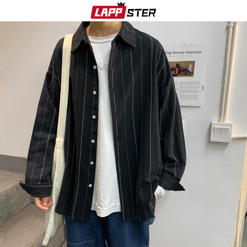 LAPPSTER Mens Striped Korean Black Shirt Long Sleeve 2020 Mens Harajuku Oversized Shirts Couple Streetwear Black Shirt Button Up
