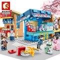 Sembo Street View of Japanese Snack Bar  мини городской уличный магазин  ресторанный набор  3D модели  блоки  строительные игрушки для детей