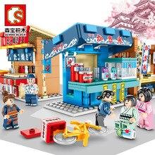 Sembo minitienda de calle de aperitivo japonés para niños, restaurante, tienda de calle, 3D, bloques de construcción, juguete
