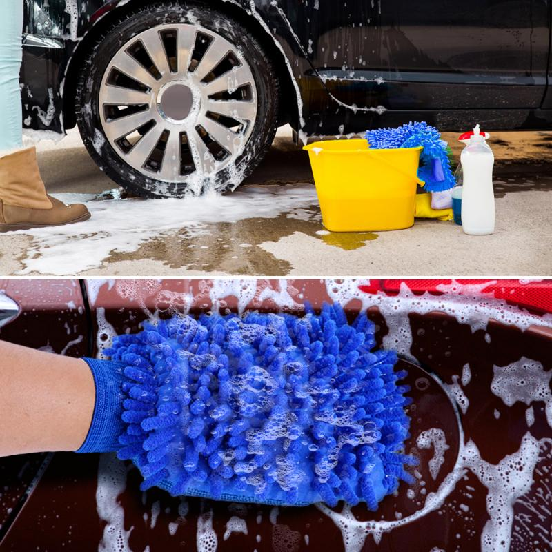 Double Sided Microfiber Car Cleaning Gloves Kitchen Cleaning Cloth Duster Mitten Chenille Windows Mirror Car Care Washing Tool