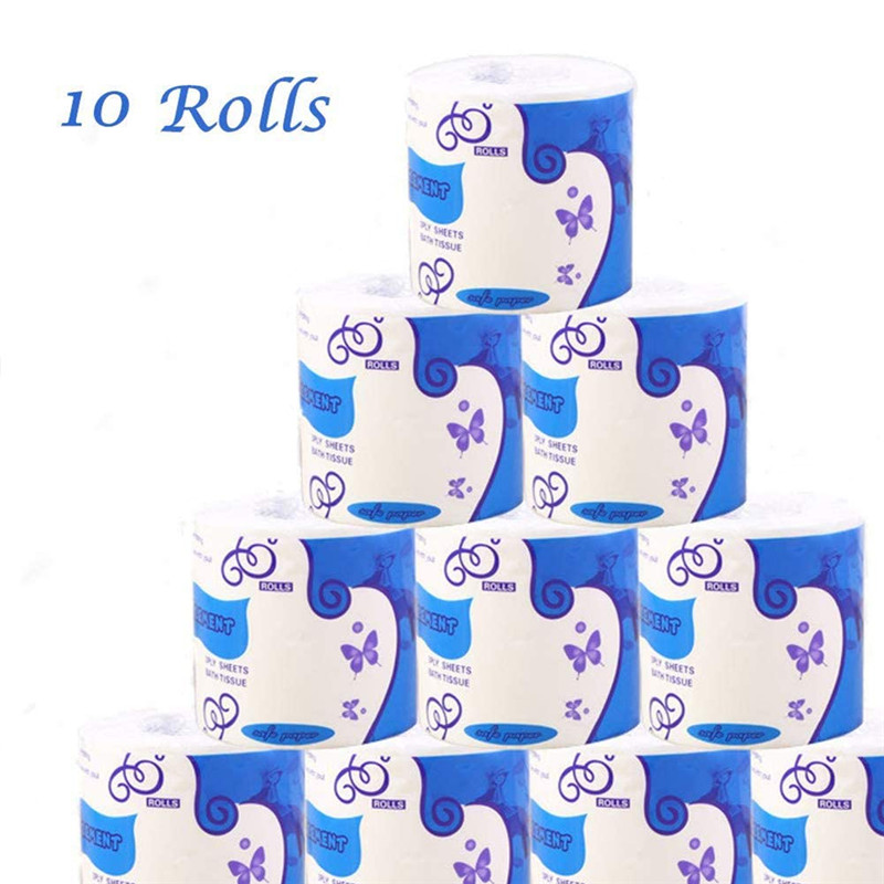 10 Rolls Toilet Paper 3-Ply Bathroom Kitchen Household Living Room Tissue Party Supplies Disposable Silky Smooth Soft Roll Paper