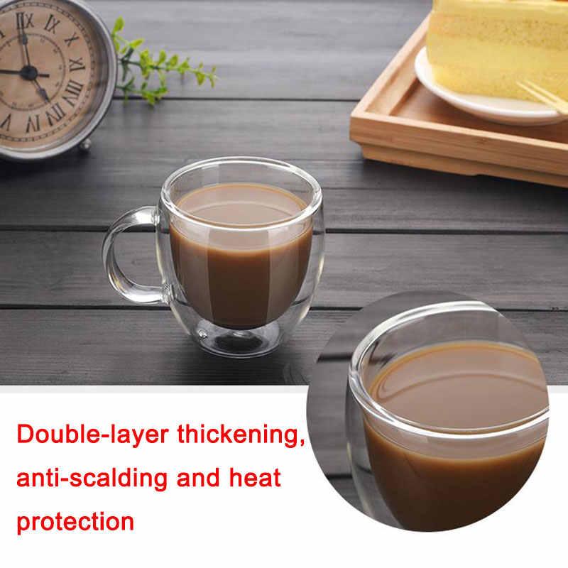 Çift cam kahve kupaları yalıtımlı termal bardak şeffaf gözlük buzlu çay Latte cappuccino Cafe Espresso isıya dayanıklı süt kupası