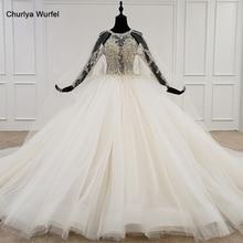 HTL1122 langarm brautkleider spezielle oansatz ballkleid appliques perle kristall braut kleid kleid lange zug abiti da sposa