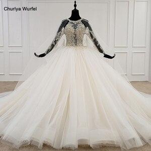 Image 1 - HTL1122 свадебное платье с длинным рукавом, специальное бальное платье с круглым вырезом и аппликацией из бисера, платье невесты с длинным шлейфом, abiti da sposa