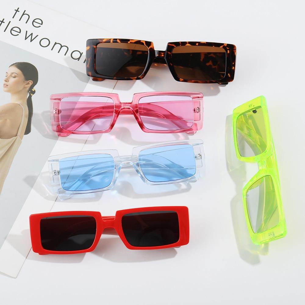 Occhiali da sole Vintage Color caramella con montatura larga occhiali da sole rettangolari piccoli occhiali da sole estivi femminili UV400 occhiali alla moda all'ingrosso 2
