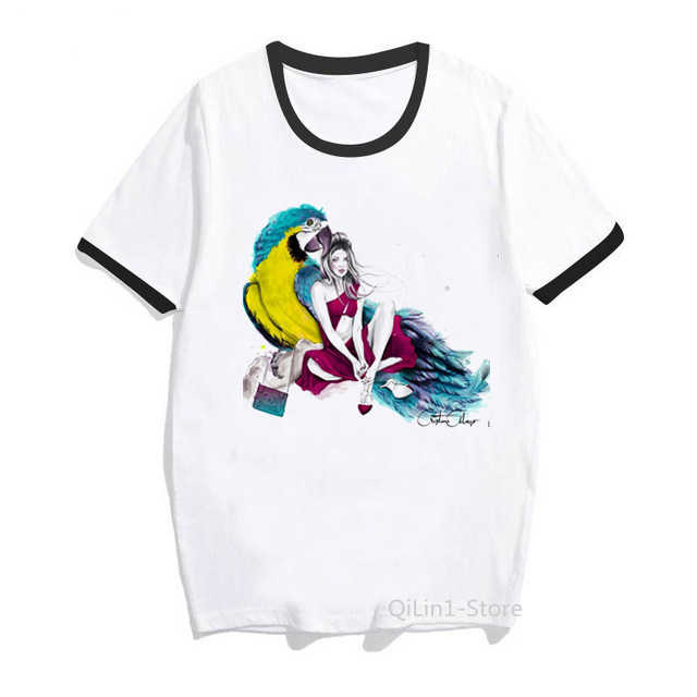 Sexy Dame En Roze Flamingo Gedrukt Tshirt Vrouwen Zomer Kleding 2019 Wit Vintage T-shirt Femme Leuke Top Drop verzending