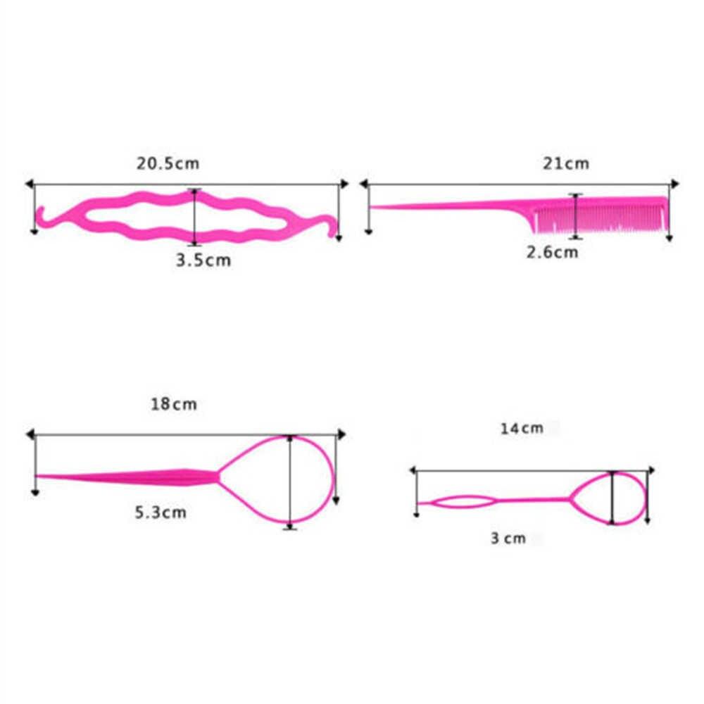 4 pz/set di Colore piatto di quattro set di modellazione modello dei capelli della forcella set di Moda Artefatto Strumento di Capelli Braider Maker Styling