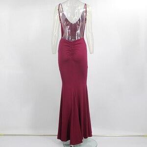 Image 5 - Justchicc Red Evening Party Long Dress Women Autumn Maxi Dress Sexy High Split Spaghetti Strap Dress Vestidos De Fiesta De Noche