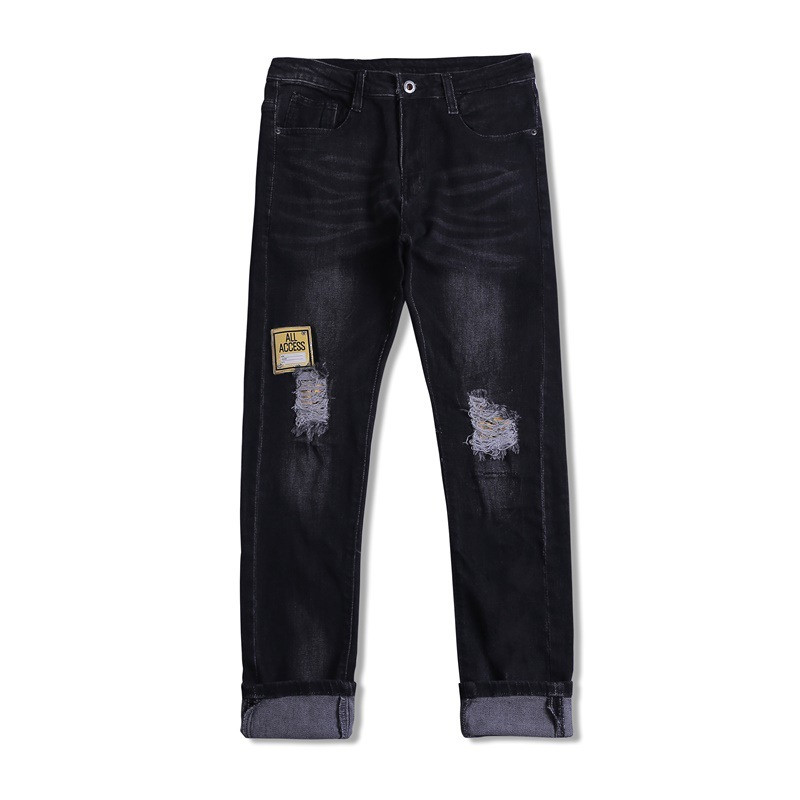 KIMSERE Men's Hi Street Destroyed Jeans Pants With Holes Patches Straight Fit Ripped Denim Trousers For Male Washed Jeans