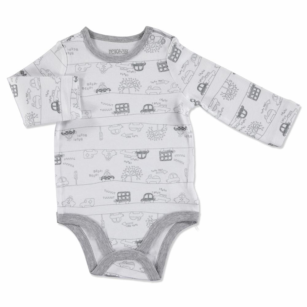 Ebebek HelloBaby Baby Printed Long Sleeve Bodysuit Baby Romper Baby Boy Clothes Baby Clothes Newborn Baby Clothes Baby Clothes