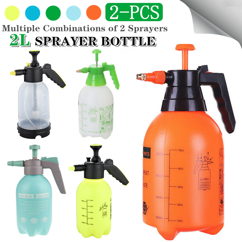 2Pcs Sprayer Bottle Multiple-Combination Hand Pressure Trigger Sprayer Adjustable Air Compression Spray Bottle Watering Can 2-Pc-0