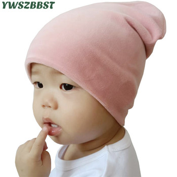 New Autumn Winter Baby Hat with Velvet Solid Color Baby Cap for Girls Boys Beanie Cap Toddler Kids Hat Scarf Winter Neck Warmer keying baby sleeping bags velvet with cap 2017 autumn