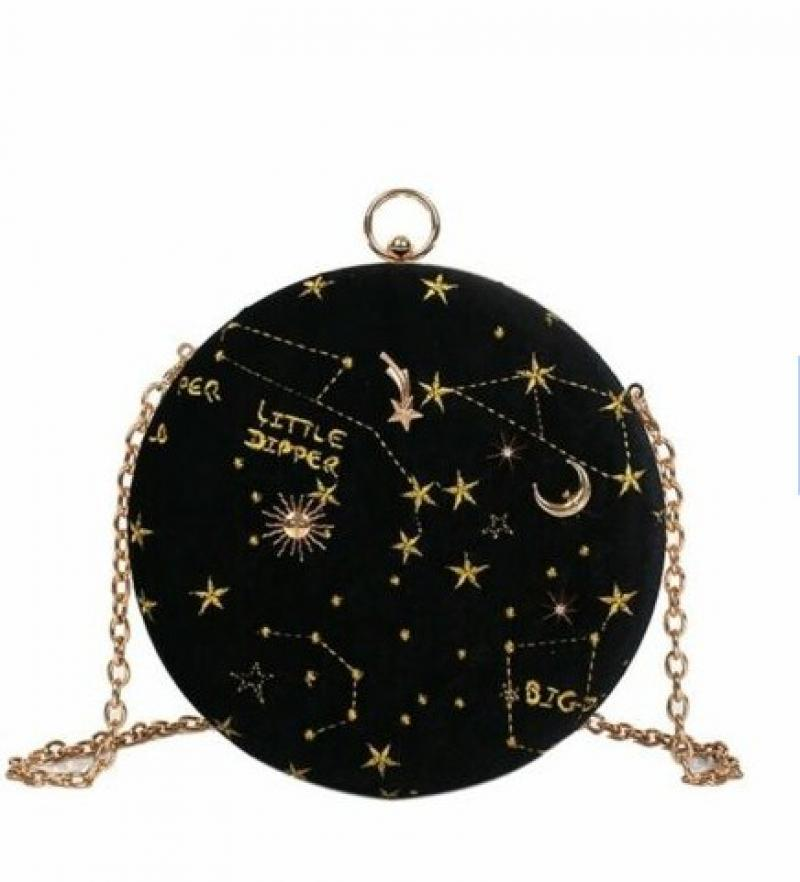 Astrology Constellations Zodiac Velvet Crossbody Bags Ball Chain Sling Bags