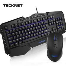 TeckNet Gaming Keyboard Mouse Combo Kit Ergonomic 7 Colors LED Backlit Rainbow USB Wired Gamer Set UK Layout for Windows PC(China)